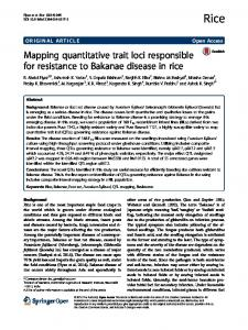 Mapping quantitative trait loci responsible for resistance to Bakanae