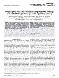 Mapping the incidentalome: estimating incidental findings ... - Nature