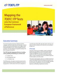 Mapping the TOEFL® ITP Tests