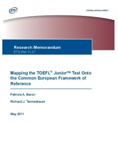 Mapping the TOEFL Junior ® Standard Test onto the CEFR (PDF)