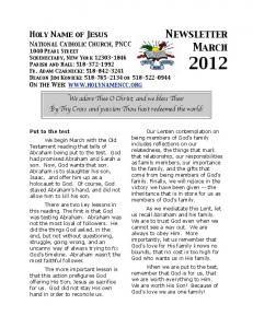Mar 2012 Newsletter - Holy Name of Jesus National Catholic Church