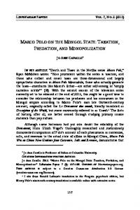 marco polo on the mongol state: taxation ... - Academic Commons