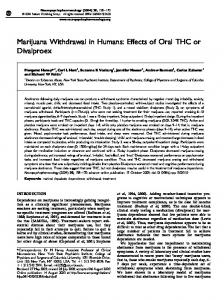 Marijuana Withdrawal in Humans: Effects of Oral THC or ... - Ukcia