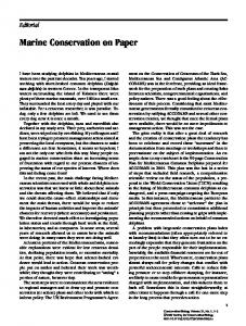 Marine Conservation on Paper - Dolphin Biology & Conservation