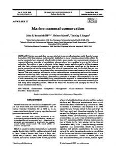 Marine mammal conservation - Inter Research