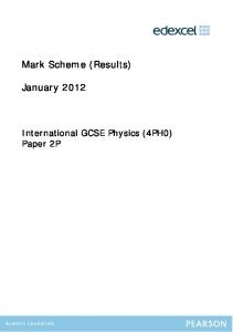 Mark Scheme (Results) January 2012 - IGCSE from 2009