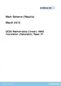 Mark Scheme (Results) March 2013 - Ilfracombe Academy