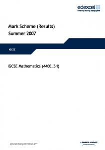 Mark Scheme (Results) Summer 2007 - FreeExamPapers