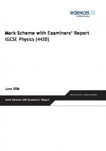 Mark Scheme with Examiners