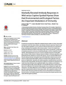 Markedly Elevated Antibody Responses in Wild ... - Semantic Scholar