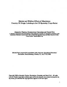 Market and Welfare Effects of Mandatory Country of ... - AgEcon Search