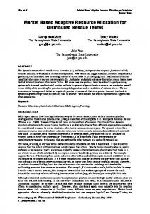 Market Based Adaptive Resource Allocation for Distributed ... - ISCRAM