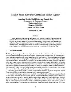 Market-based Resource Control for Mobile Agents