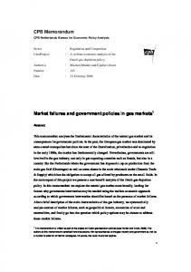 Market failures and government policies in gas markets CPB