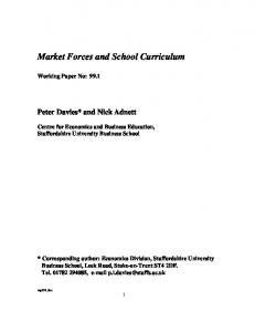 Market Forces and the School Curriculum - CiteSeerX