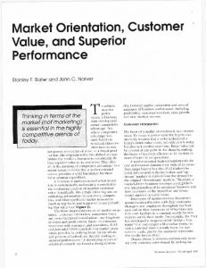 Market orientation, customer value, and superior ...