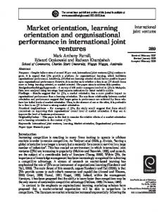 Market orientation, learning orientation and ...