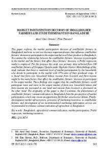 market participation decision of smallholder farmers ... - AgEcon Search