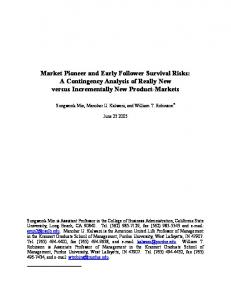 Market Pioneer and Early Follower Survival Risks: A ... - CiteSeerX