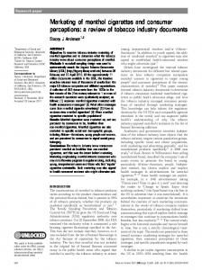 Marketing of menthol cigarettes and consumer perceptions: a review ...