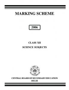 MARKING SCHEME - Central Board of Secondary Education