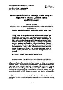 Marriage and Family Therapy in the People's Republic of China ...