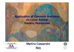 Martino Cassandro Italy Application of Genomic ...