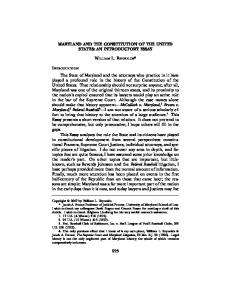 MARYLAND AND THE CONSTITUTION OF THE UNITED STATES: AN ...