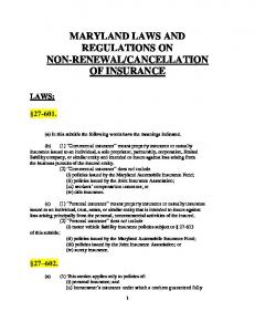 Maryland laws and regulations on non-renewal/cancellation