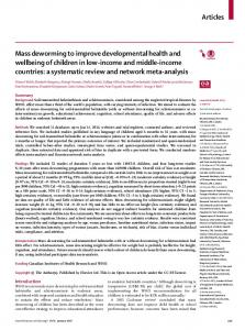 Mass deworming to improve developmental health and wellbeing of ...