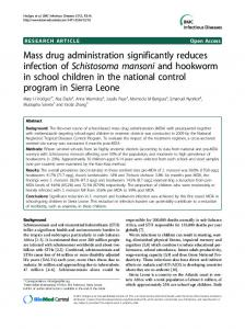 Mass drug administration significantly reduces ...