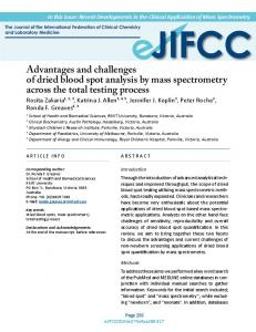 Mass spectrometry analysis of dried blood spots across the total ...