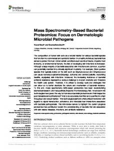 Mass Spectrometry-Based Bacterial Proteomics: Focus on ... - Frontiers