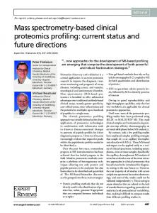 Mass spectrometry-based clinical proteomics profiling: current status ...