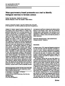 Mass spectrometry-based proteomics as a tool to ... - Springer Link