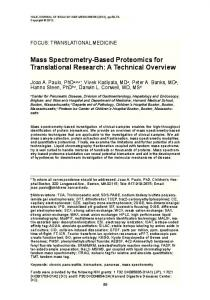 Mass Spectrometry-Based Proteomics for ... - Semantic Scholar