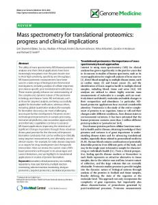 Mass spectrometry for translational proteomics: progress ... - CiteSeerX