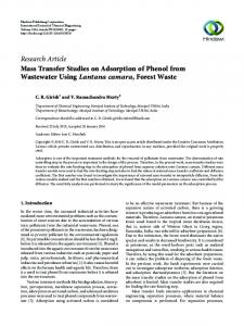 Mass Transfer Studies on Adsorption of Phenol from Wastewater ...
