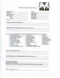 Massage Therapy Consultation Form - Eagle Grove Chiropractic