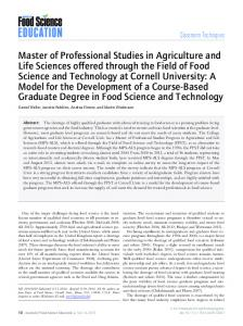 Master of Professional Studies in Agriculture and Life Sciences offered ...