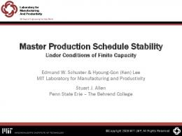 Master Production Schedule Stability - APICS North Shore Chapter