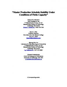 Master Production Schedule Stability Under Conditions of Finite ...