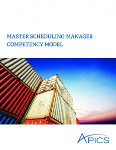 Master Scheduling Manager Competency Model - Apics