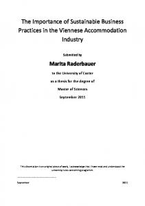 Master Thesis - The Importance of Sustainable Business Practices in ...