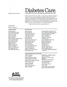 Masthead (PDF) - Diabetes Care - American Diabetes Association