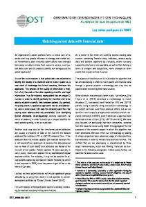 Matching patent data with financial data1 - Observatoire des Sciences ...