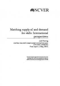 Matching supply of and demand for skills - Flinders University
