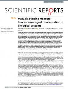 MatCol: a tool to measure fluorescence signal ...