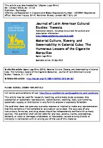 Material Culture, Slavery, and Governability in ...