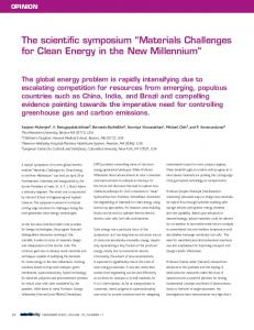 Materials Challenges for Clean Energy in the New Millennium